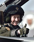 A female Tornado navigator of No. 12 Squadron, 1998.