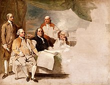 Portrait of the four principle US ministers in Paris; left to right, John Jay, John Adams, Benjamin Franklin, Henry Laurens, and their secretary on the far right.