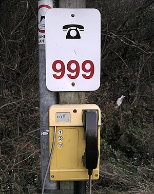 Emergency telephone - Emergency telephone on a beach  at Trefor in North Wales
