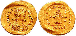 Byzantine Empire under the Justinian dynasty - A coin showing the bust of Justin I.
