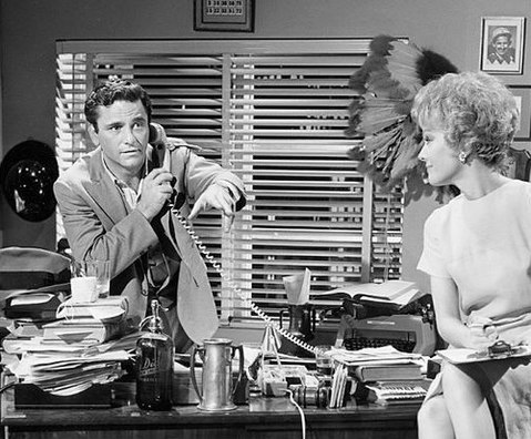 Peter Falk and Joanna Barnes from the television program The Trials of O'Brien in 1966. Trials of OBrien.JPG