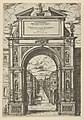 Triumphal arch surmounted by a statue representing the city of Bologna, buildings seen through the arch below, a temporary decoration for the entry of Pope Clement VIII in Bologna in 1598 MET DP837822.jpg