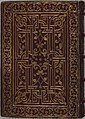Trivulzio book of hours - KW SMC 1 - Back side of red morocco leather binding from the 18th century with gilt stamped.jpg