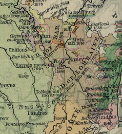The Three Bishoprics of Verdun, Metz and Toul in the upper half of this map, coloured green and outlined in pink.