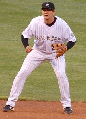Troy Tulowitzki - Troy Tulowitzki about to field his position (shortstop)