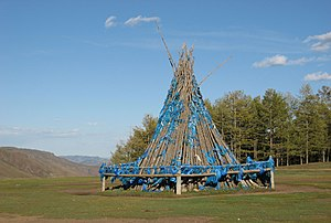 Ceremonial pole - A predominantly wooden ovoo in northern Mongolia