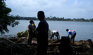 Effect of the 2004 Indian Ocean earthquake on Sri Lanka - Red Cross volunteers removes corpse from the shore