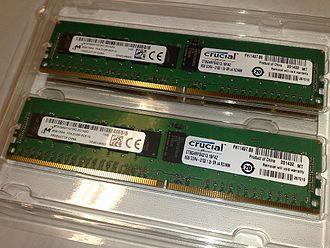 ECC memory - Two 8 GB DDR4-2133 ECC 1.2 V RDIMMs