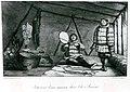 Two Yupik men, one playing a drum, inside a dwelling on Saint Lawrence Island, Alaska, between 1816 and 1817 (AL+CA 8201).jpg