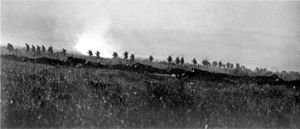 Tyneside Irish Brigade advancing 1 July 1916.jpg