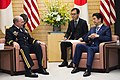 U.S. Army Gen. Martin E. Dempsey, left, chairman of the Joint Chiefs of Staff, and Japanese Prime Minister Shinzo Abe talk during a bilateral meeting with their senior staffs in Tokyo, March 25, 2015 150325-D-KC128-524A.jpg