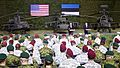 U.S. President Barack Obama, at left lectern, and Estonian Prime Minister Taavi Rõivas, at right lectern, speak with U.S. Army paratroopers assigned to the 173rd Airborne Brigade Combat Team and Estonian soldiers 140902-A-DB402-005.jpg