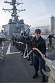 U.S. Sailors aboard the guided missile destroyer USS Stout (DDG 55) heave mooring lines as the ship pulls into port in Haifa, Israel, Jan. 19, 2014, for a scheduled port visit 140119-N-UD469-558.jpg