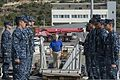 U.S. Sailors stand at attention aboard the guided missile destroyer USS Ramage (DDG 61) as Secretary of the Navy Ray Mabus boards the ship Nov. 15, 2013, at Naval Support Activity Souda Bay, Greece 131115-N-VC236-010.jpg