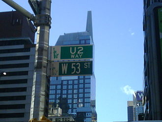 """No Line on the Horizon - A street sign reading """"U2 Way"""" was added to 53rd Street in Manhattan during the album's promotion."""