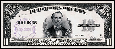 Obverse of the ten-peso silver certificate
