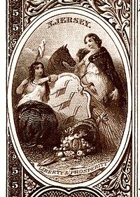 New Jersey eyalet arması Ulusal Banknot serisi 1882BB ters