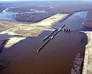 Felsenthal National Wildlife Refuge - Felsenthal Lock and Dam, impounding Lake Jack Lee in the Felsenthal National Wildlife Refuge