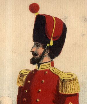 United States military bands - An early iteration of the U.S. Marine Band's bearskin helmet, shown in the 1859 uniform regulations