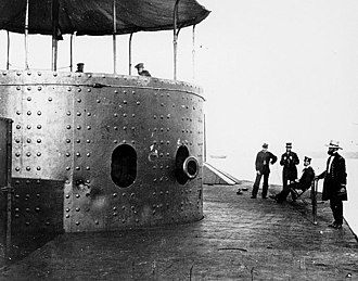 Smoothbore - USS Monitor (1862) with the muzzle of one of its two 11-inch smoothbore Dahlgren guns showing