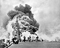 USS BUNKER HILL hit by two Kamikazes in 30 seconds on 11 May 1945 off Kyushu. Dead-372. Wounded-264.jpg