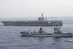 USS Dwight D. Eisenhower (CVN-69) underway with the Italian oiler Stromboli (A5327) in the Mediterranean Sea on 16 June 2016.JPG
