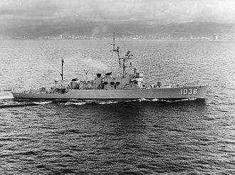 Claud Jones-class destroyer escort - USS McMorris (DE-1036) underway off Oahu on 10 March 1972