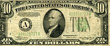 A picture of an old-style ten dollar bill