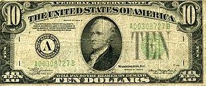 Ten Dollar Bill (Roy Lichtenstein) - Image: US $10 1934 Note Front