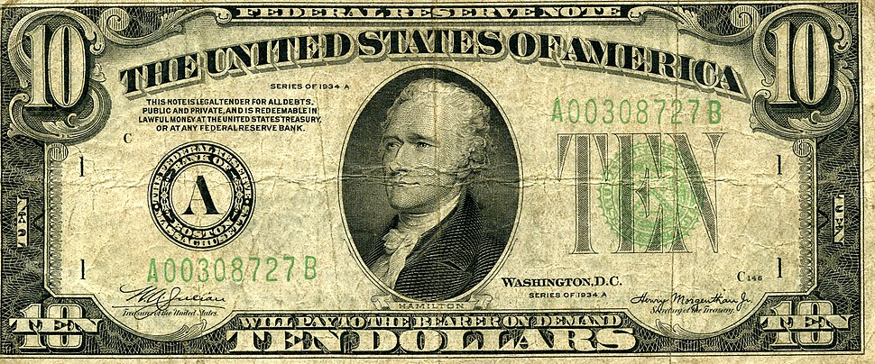 US $10 1934 Note Front