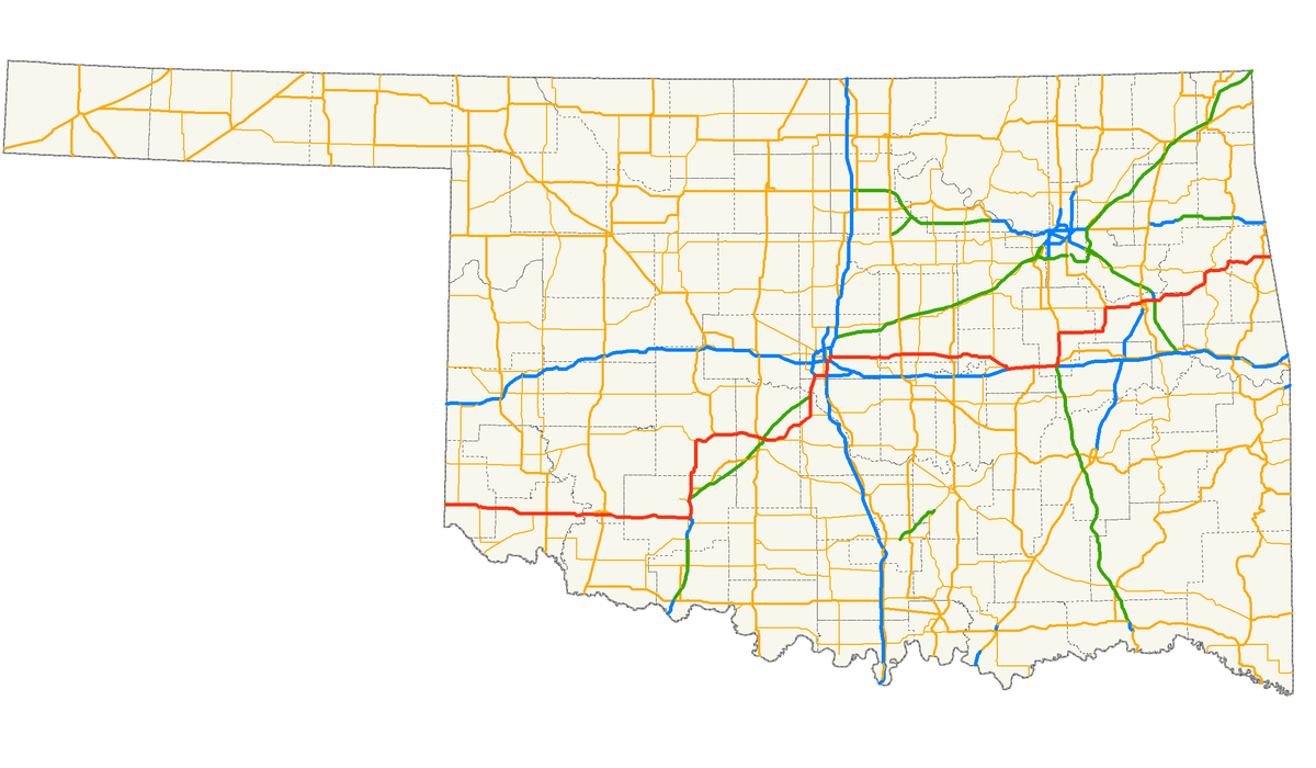 US Route In Oklahoma Wikipedia - Oklahoma highways map