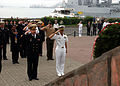 US Navy 030704-N-7265L-023 U.S. Consul Gen. Vladivostok and Cdr. Hugh Wetherald, Commanding Officer of the U.S. Navy guided missile destroyer USS Lassen (DDG 82), salute during a wreath-laying ceremony at the Slava Tof memorial.jpg