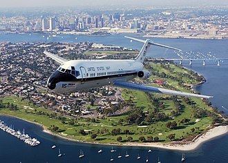 San Diego Bay - A plane flying over the Bay