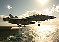 US Navy 051109-N-3488C-040 An F-A-18F Super Hornet, assigned to the Diamondbacks of Strike Fighter Squadron One Zero Two (VFA-102), launches off flight deck of the conventionally powered aircraft carrier USS Kitty Hawk (CV 63).jpg