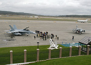 Boeing EA-18G Growler - An EA-18G Growler alongside an EA-6B Prowler shortly after arriving at NAS Whidbey Island, 9 April 2007.