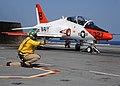 US Navy 100613-N-3885H-377 A shooter launches a T-45A Goshawk from USS George H.W. Bush (CVN 77).jpg