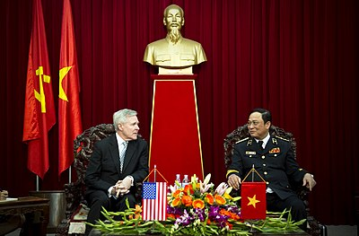 Secretary of the Navy (SECNAV) the Honorable Ray Mabus speaks with Vietnam People's Navy Commander Admiral Nguyễn Văn Hiến in November 26, 2010 - Vietnam People's Navy