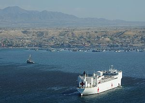 US Navy 110430-N-NY820-273 The Military Sealift Command hospital ship USNS Comfort (T-AH 20) is anchored off Paita, Peru during a Continuing Promis.jpg