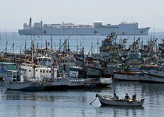 Paita - Image: US Navy 110506 N NY820 165 The Military Sealift Command hospital ship USNS Comfort (T AH 20) is anchored in the fishing town of Paita, Peru