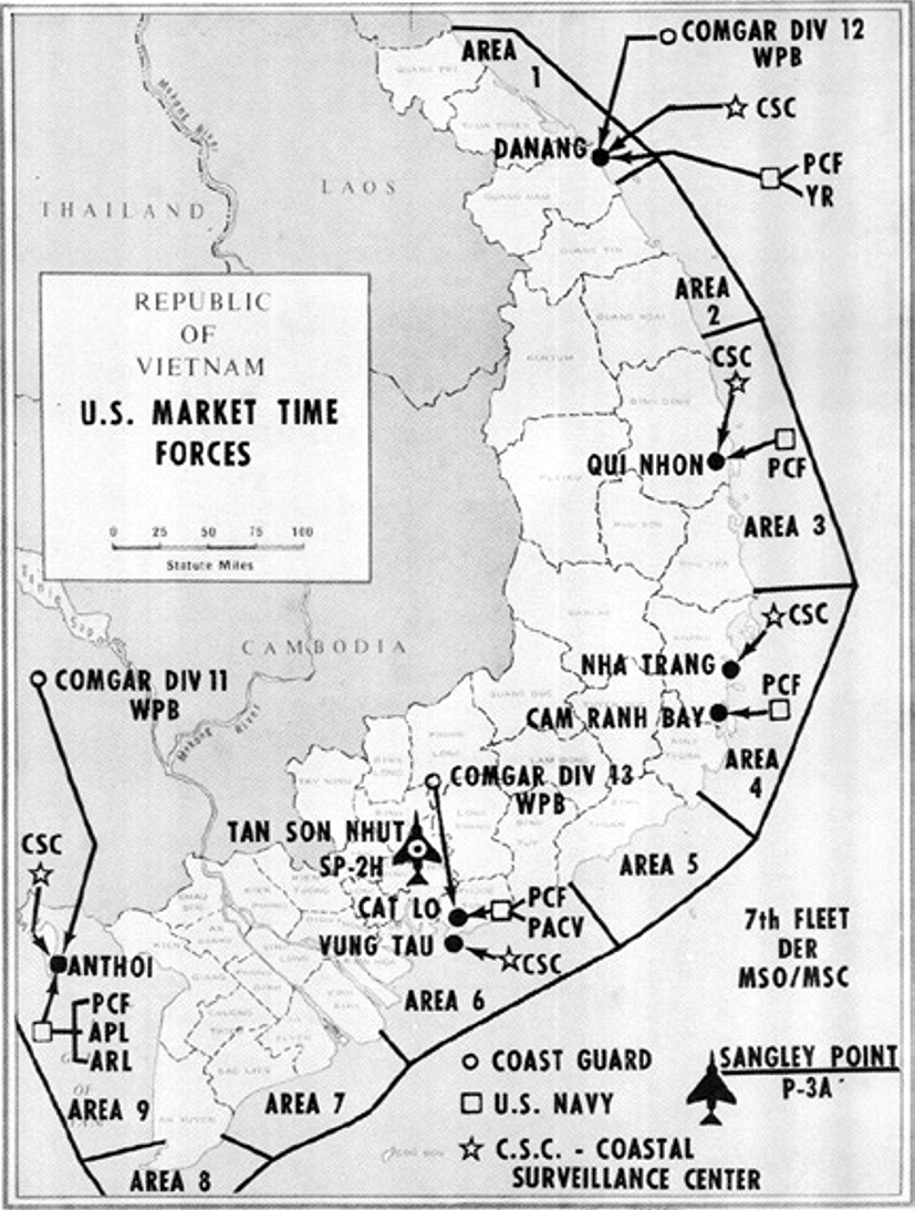 US Navy Market Time patrol areas in Vietnam 1966