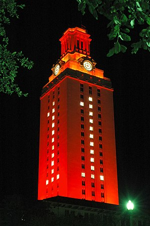 Texas Longhorns - The Tower lit in a special configuration in honor of a National Championship team