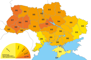 "Eastern Ukraine - 1991 Ukrainian independence referendum, ""Yes"" votes by region"