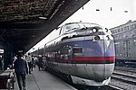 United Aircraft Turbotrain at New Haven Union Station, July 1969.jpg