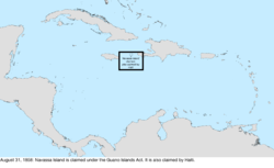 Map of the change to the United States in the Caribbean Sea on August 31, 1858