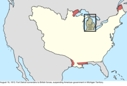 Map of the change to the disputes involving the United States in central North America on August 16, 1812