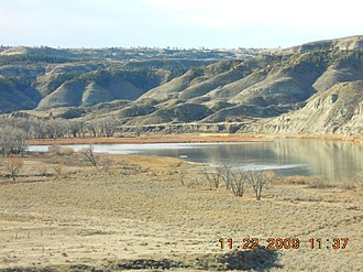 Cow Creek (Montana) - The upstream end of Cow Creek Island, downstream from the mouth of Cow Creek