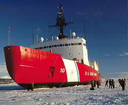 The Upward Angle Of Polar Stars Bow Is Designed So That Hull Rides Up Onto Ice Surface During Icebreaking Operations