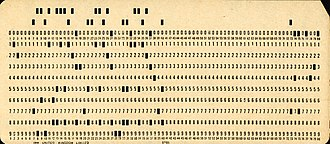 Punched card - A punched card from the mid-twentieth century.