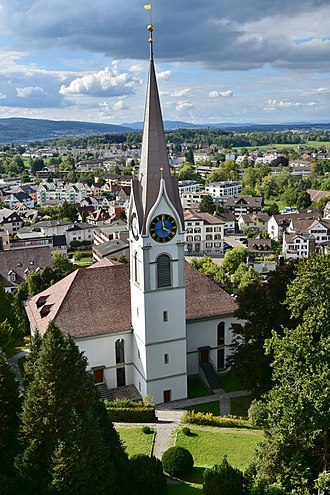 Uster Reformed Church - Uster church as seen from the tower of the Uster Castle