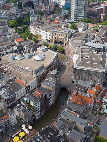 View on the Oudegracht from the Dom Tower Utrecht Canals Aerial View - July 2006.jpg